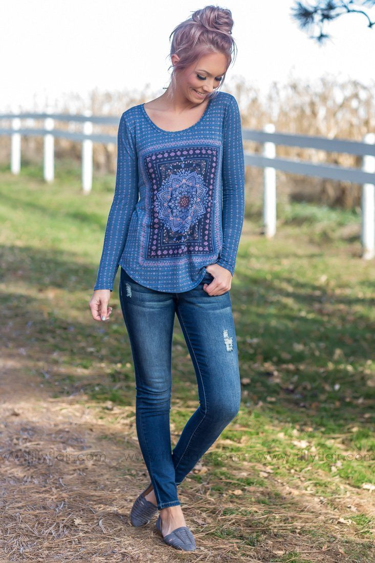 Lucky Brand: Simply Spoiled Long Sleeve Medallion Printed Top In Blue - Filly Flair