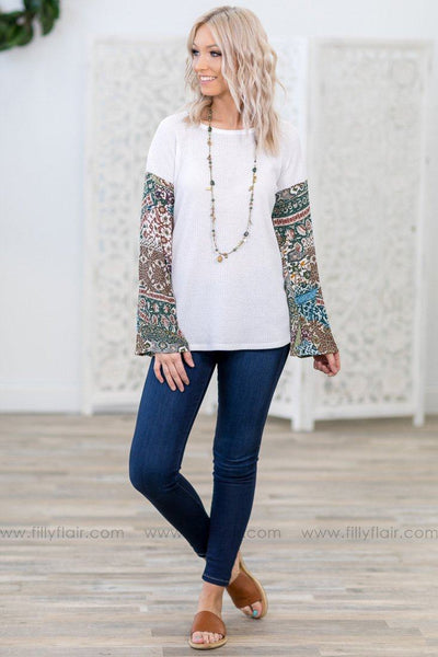 Make You Feel Printed Long Bell Sleeve Waffle Top in White - Filly Flair