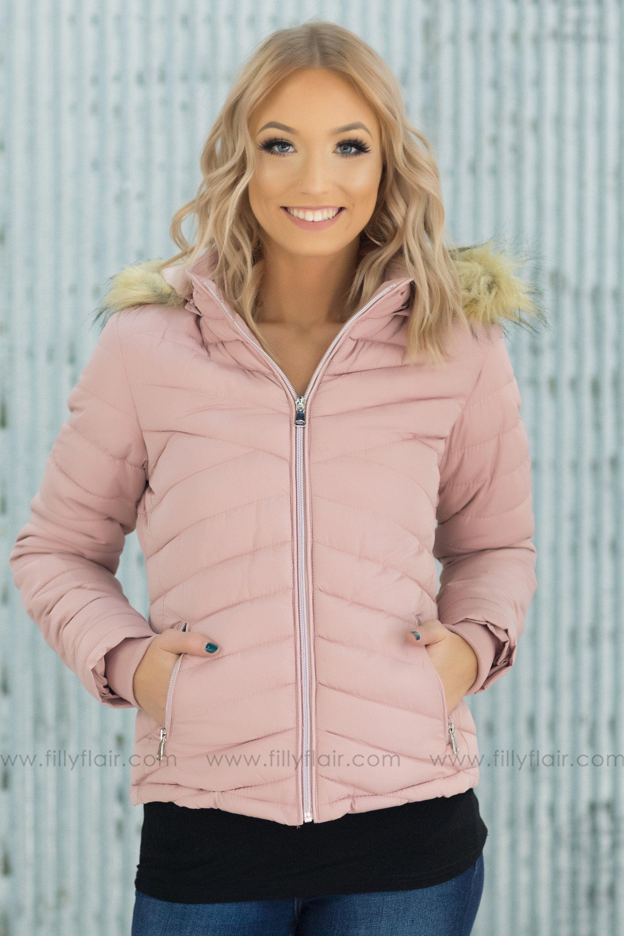 Warm Feelings Puffy Coat in Dusty Pink - Filly Flair