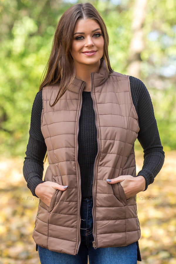 Just In Time Quilted Vest in Mocha - Filly Flair