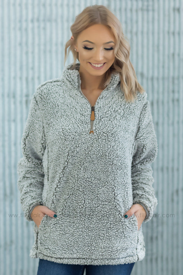 Get Cozy With Me Half Zip Pullover Sherpa in Grey - Filly Flair