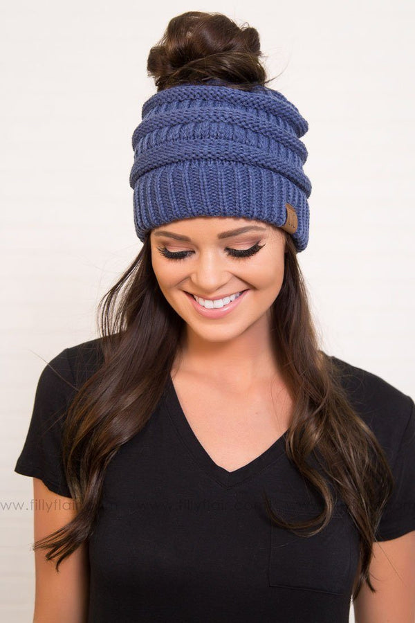 CC Beanie Ponytail in Blue