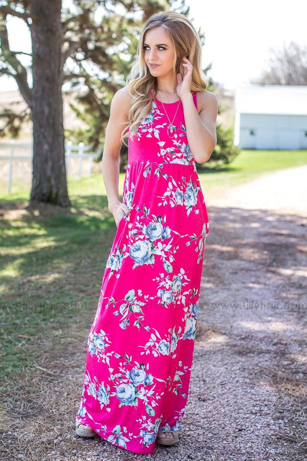In Time Floral Tank Maxi Dress in Pink