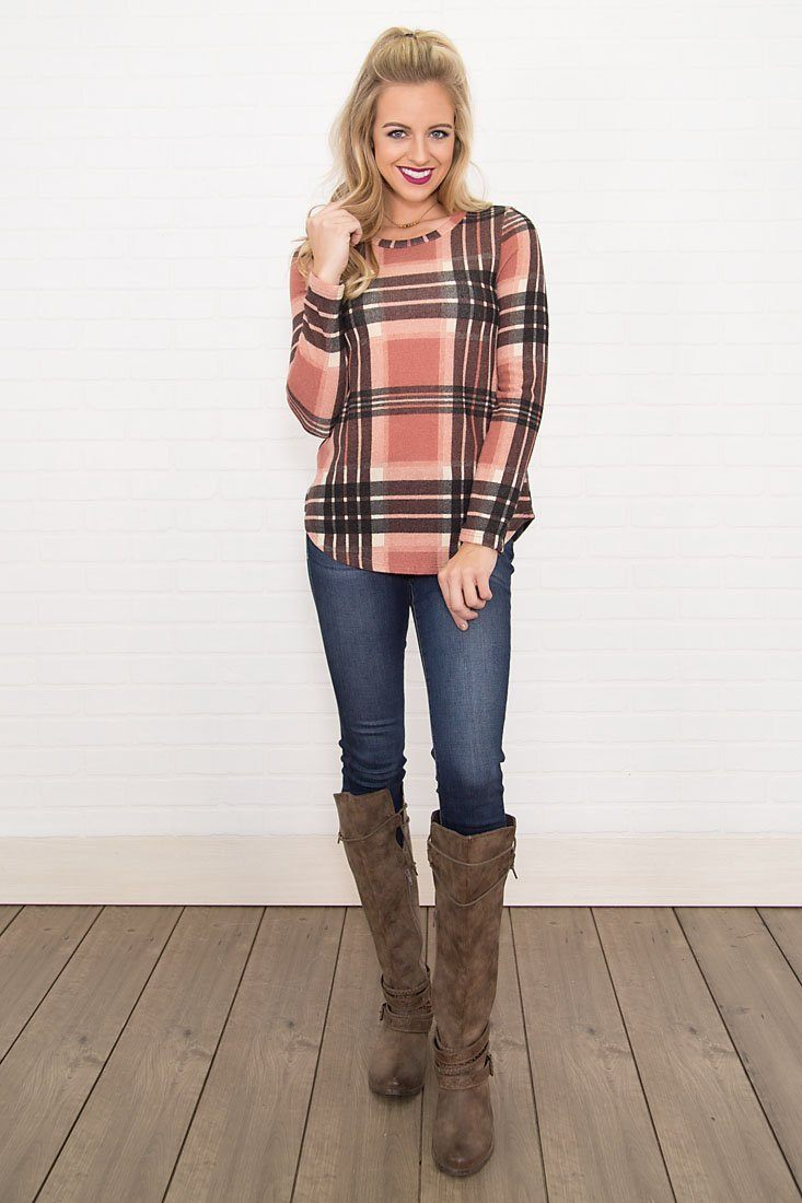 Wine Night Long Sleeve Top in Mauve Plaid