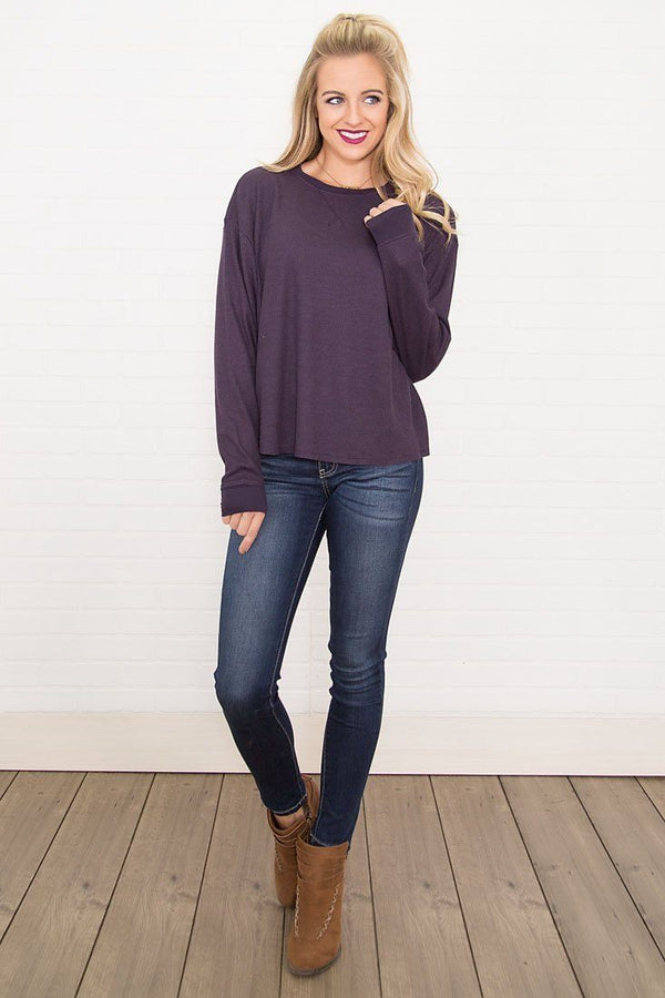 Warm Me Up Basic Long Sleeve Top in Purple
