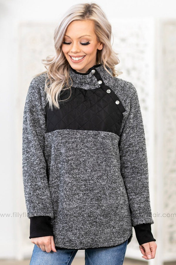 Take a Chance Quilted Button Detail Sherpa in Charcoal Black - Filly Flair