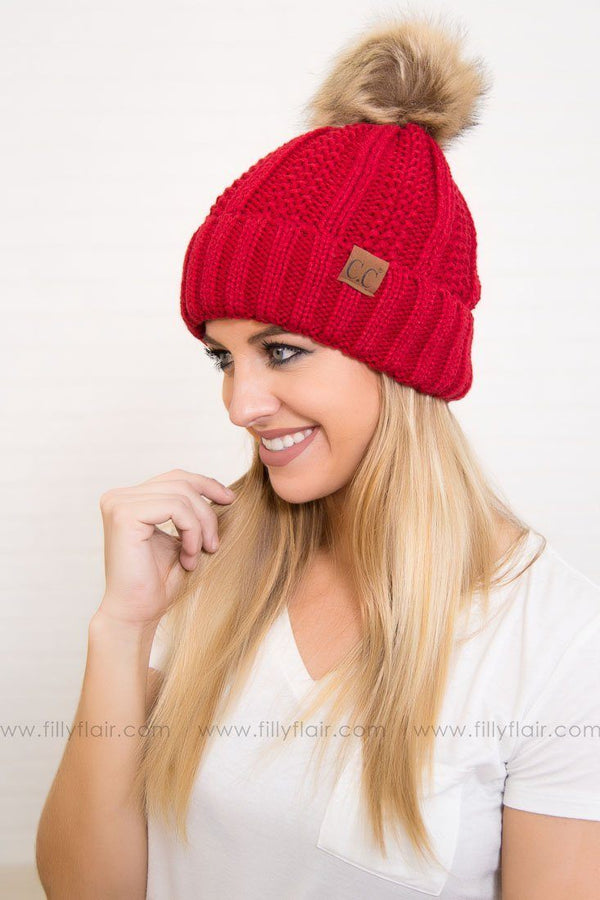 CC Pom Pom Beanie in Red