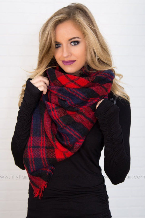 We've Got You Covered Plaid Blanket Scarf In Red Black