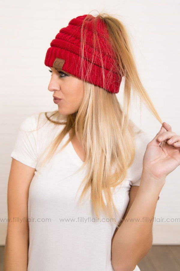 CC Beanie Ponytail in Red