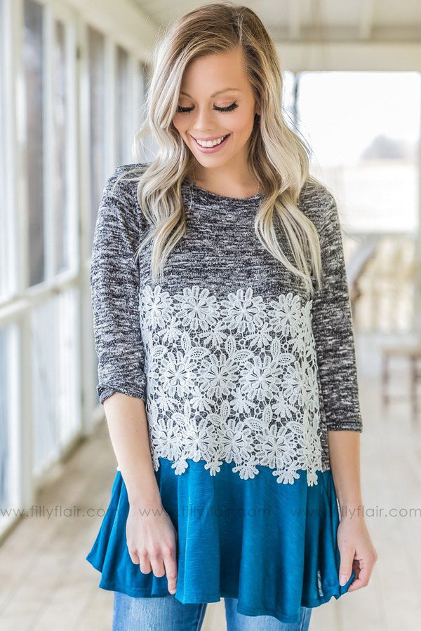 Stretch Of Love Lace Color Block Top In Dark Teal