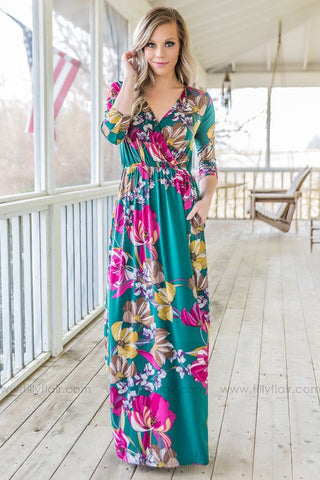 The Wind Blows Floral Hi Low Dress In Blush