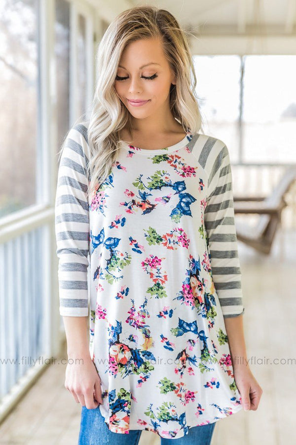 Bring My Heart Back Floral Striped Top In White