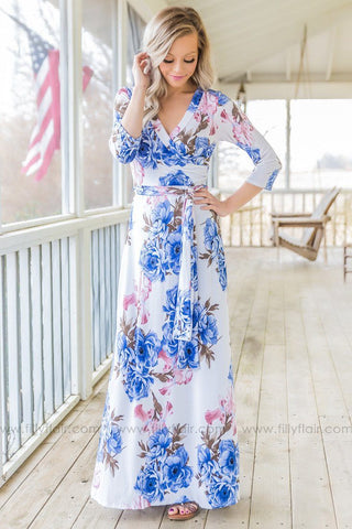 Give Love A Chance Floral Maxi Dress In Dark Periwinkle