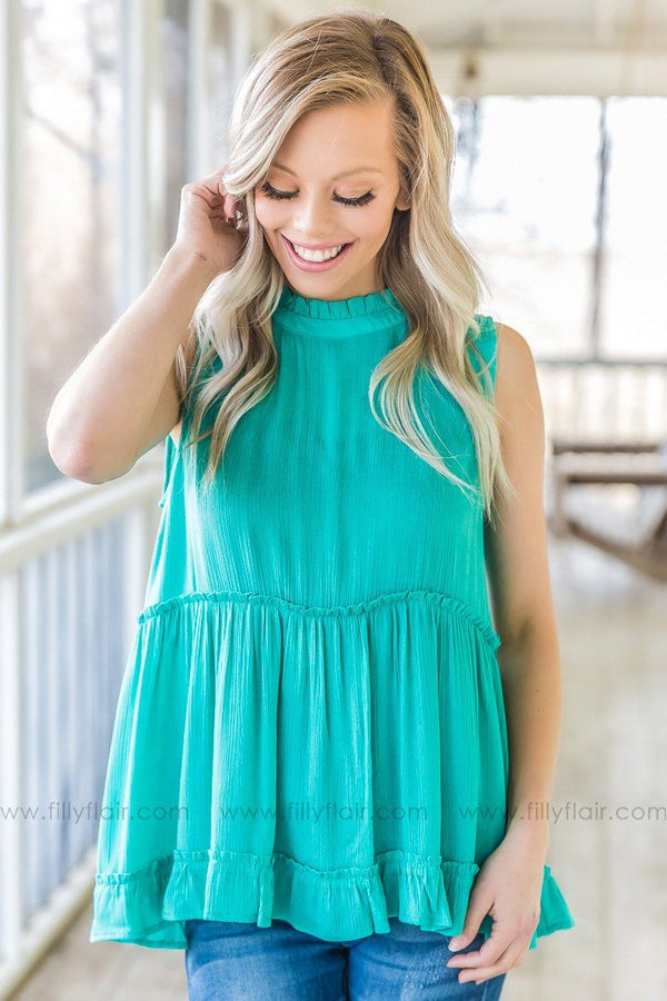 A Better You Sleeveless Baby Doll Top In Turquoise