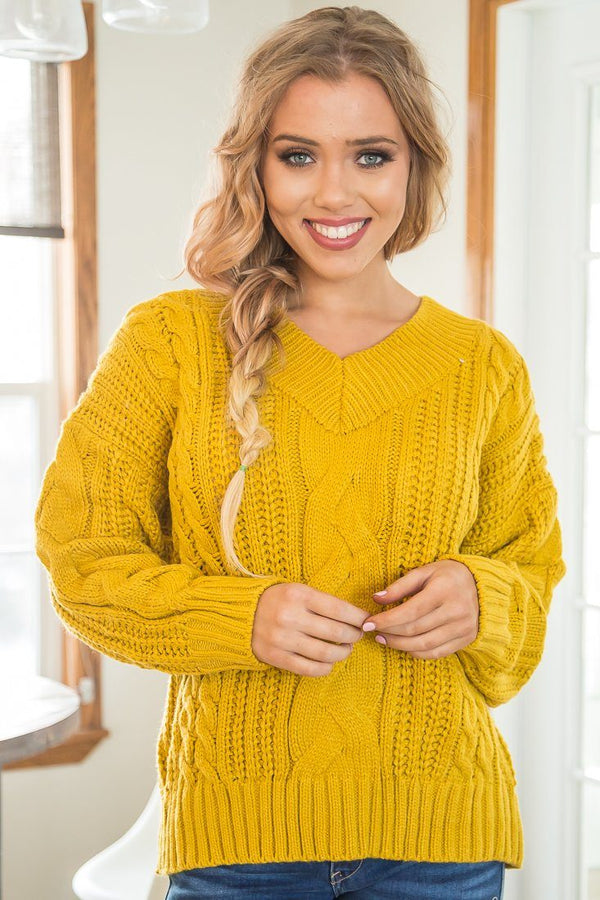 Check Yes Or No V Neck Knitted Sweater In Mustard - Filly Flair