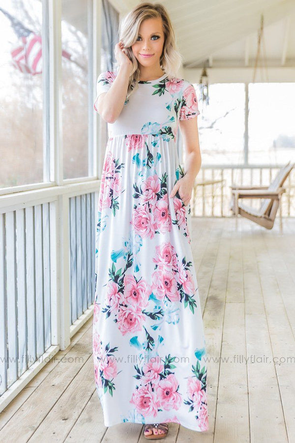 Chosen Just For You Floral Short Sleeve Maxi Dress In Ivory