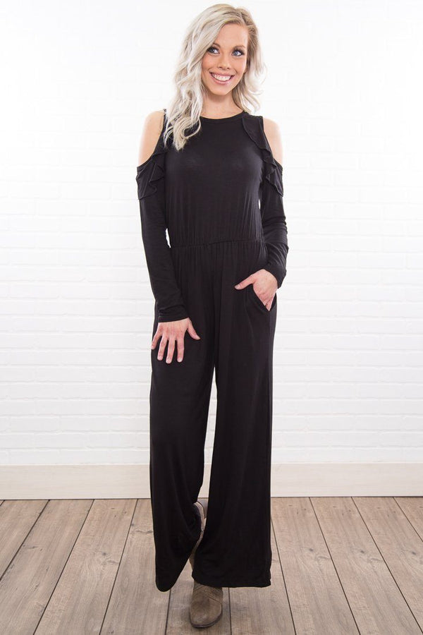 Ambitious Soul Black Cold Ruffle Shoulder Jumpsuit