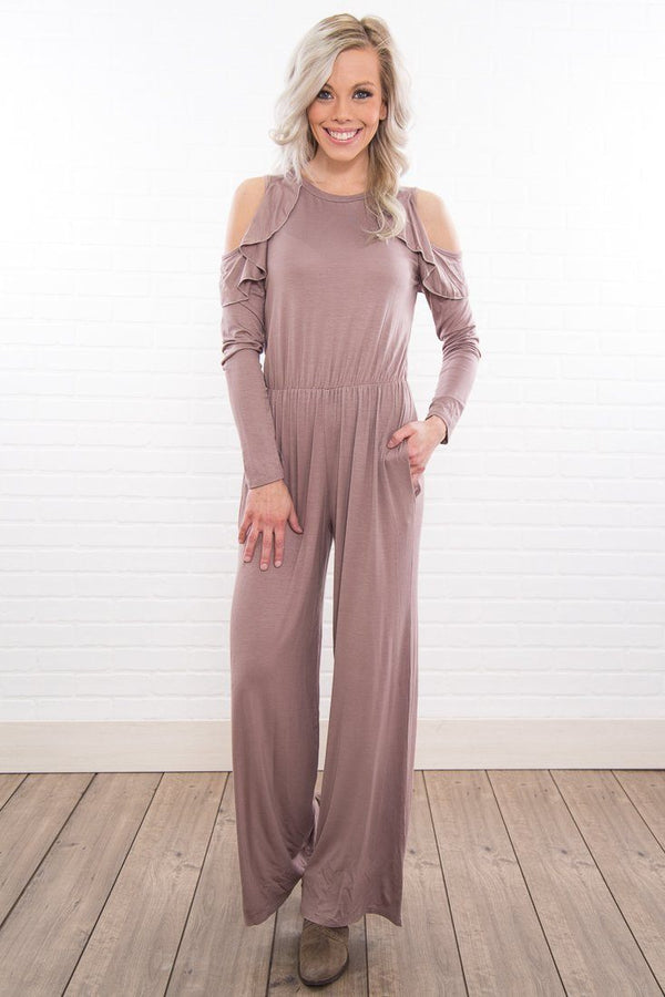 Ambitious Soul Mocha Cold Ruffle Shoulder Jumpsuit - Filly Flair
