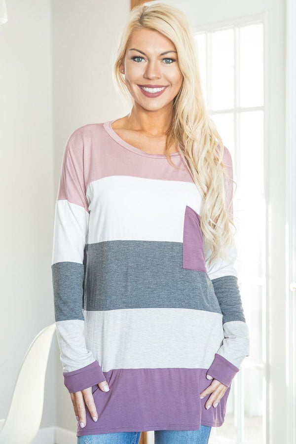 Striped To Perfection Long Sleeve Tunic In Mauve - Filly Flair