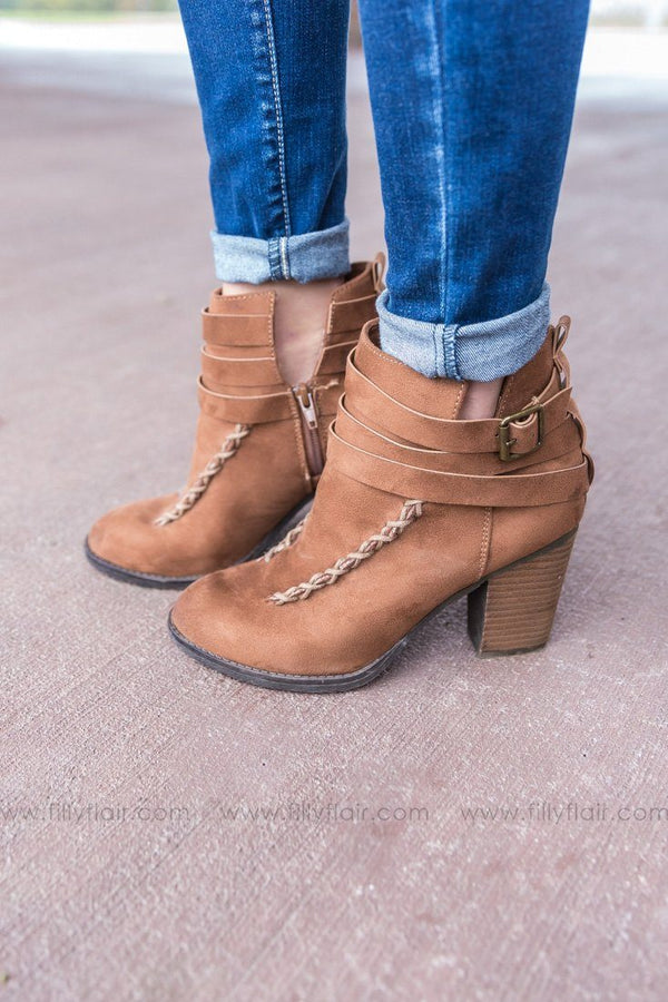 Not Rated Chalk Tan Strapped Bread Booties - Filly Flair
