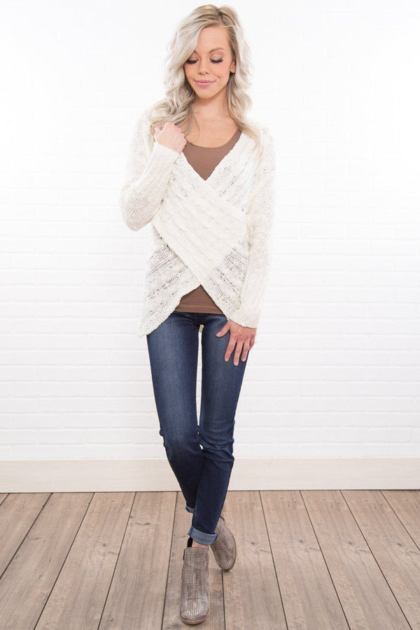 So Caught Up In You Ivory Wrap Long Sleeve Sweater
