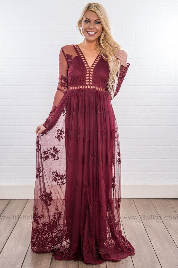 Eternal Love Lace Cut Out Maxi Dress in Burgundy