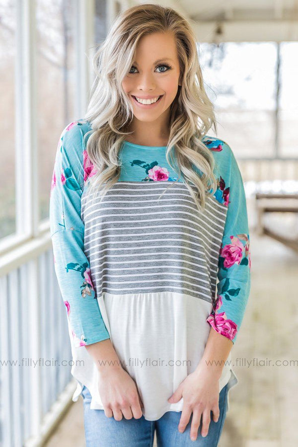 Feel So Good Floral Striped Color Block Top In Dusty Blue