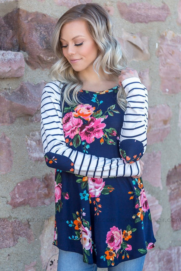 Waiting On Time Floral Striped Elbow Patch Top In Navy