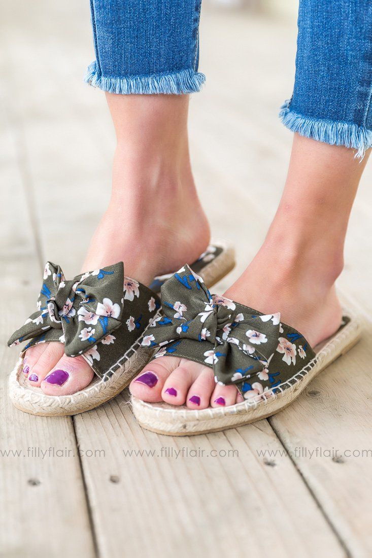 Not Rated Erra Floral Sandal In Olive - Filly Flair