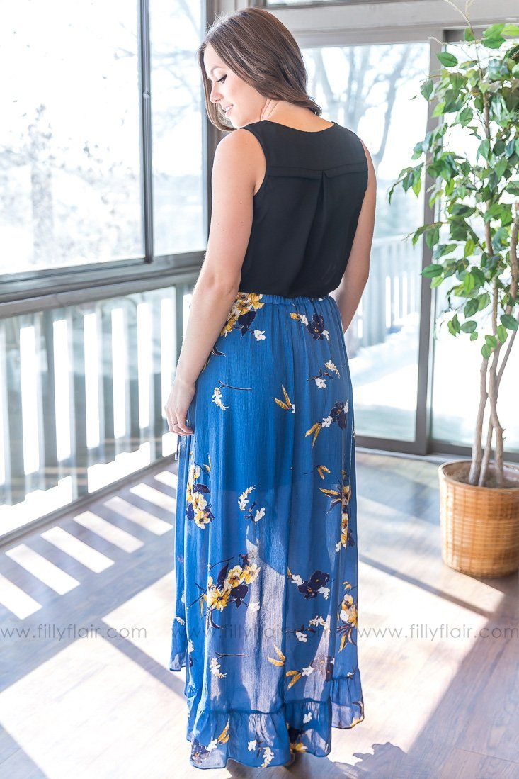 Looking Back At You Floral Hi Low Wrap Skirt In Blue - Filly Flair