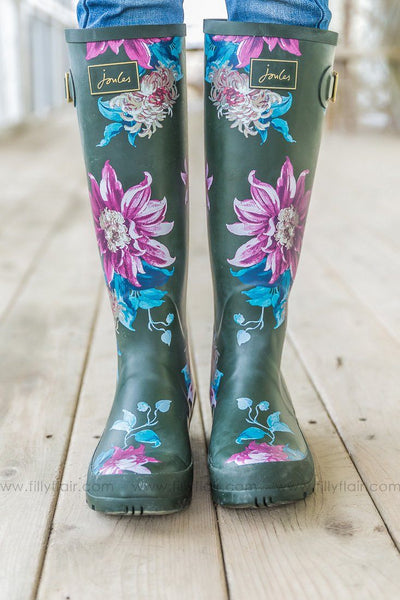 Joules Olive Blue And Pink Floral Printed Tall Rain Boots