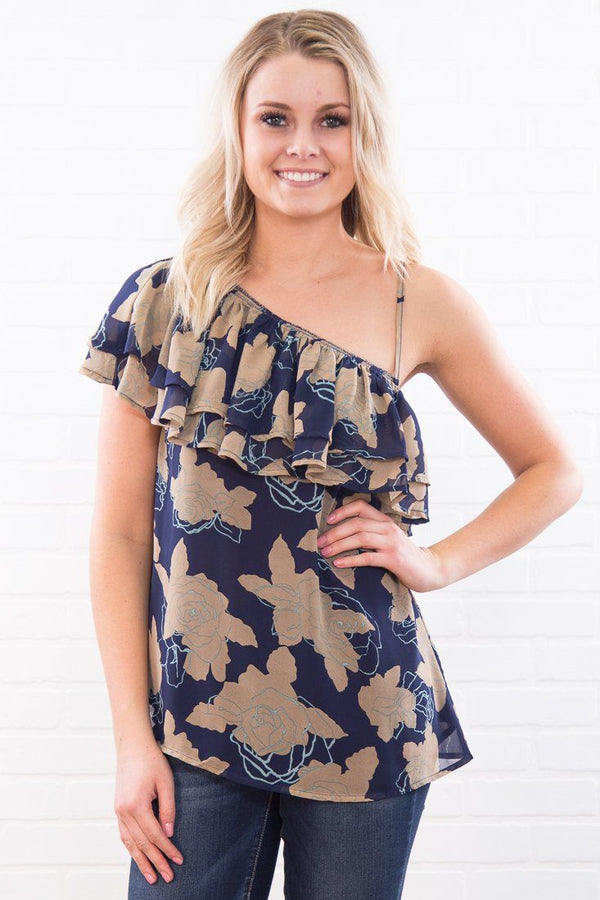 Unwound Floral One Shoulder Ruffle Top In Navy