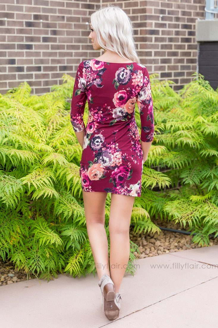 Right By Your Side Floral Fitted Dress In Burgundy - Filly Flair