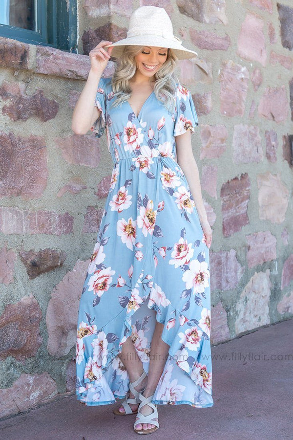 Passing Time Floral Hi Low Ruffle Maxi Dress In Slate Blue