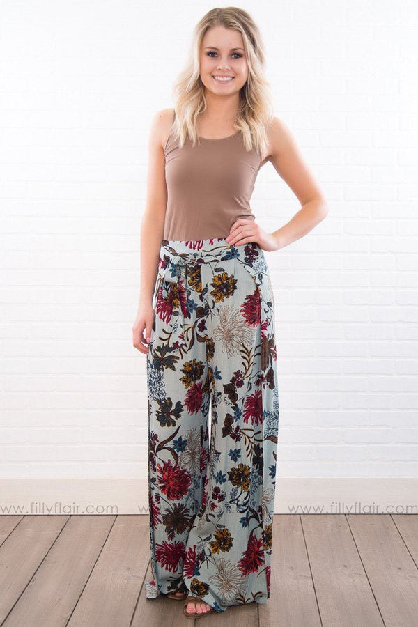 Morning Star Floral Tie Wrap Palazzo Pants In Blue
