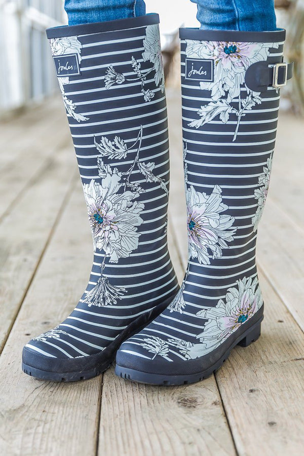 Joules Grey White Striped Floral Print Tall Rain Boots