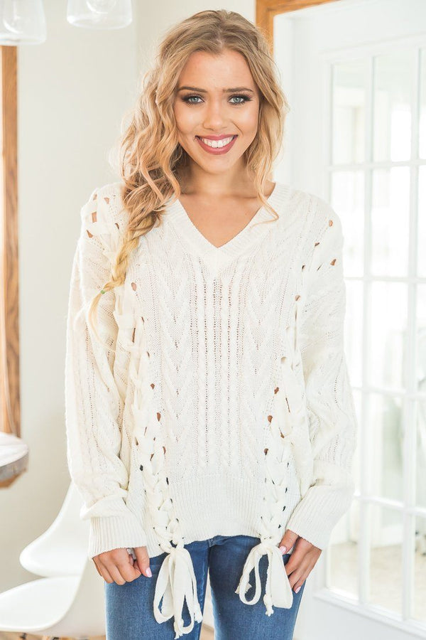 Hooked On You Lace Up Detail Sweater In Ivory