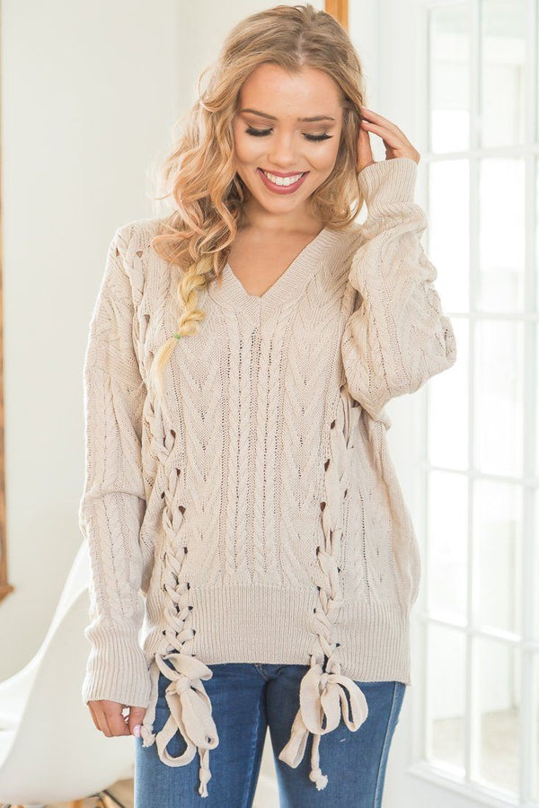 Hooked On You Lace Up Detail Sweater In Taupe