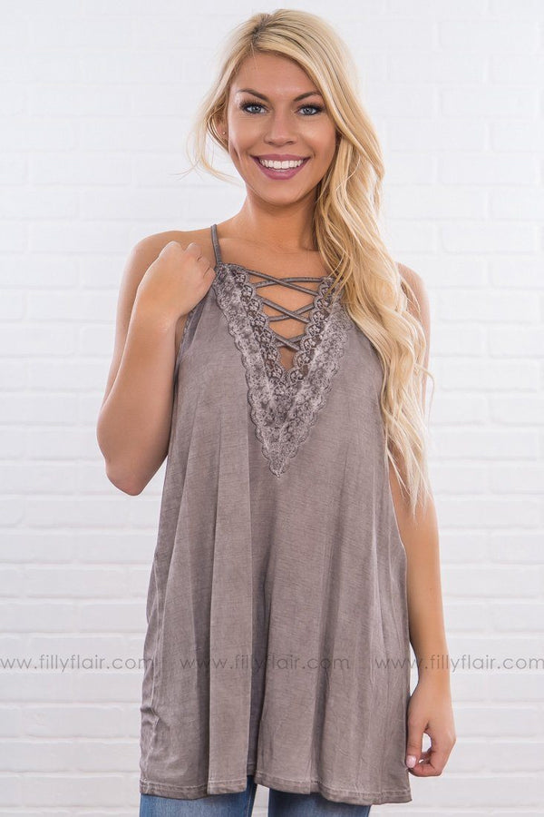 Second Nature Lace Criss Cross Halter Tank Top In Mocha