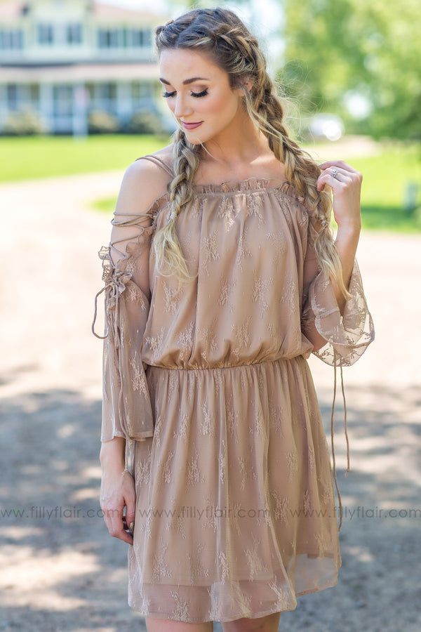 Hold It Together Lace Up Lace Mini Dress In Taupe