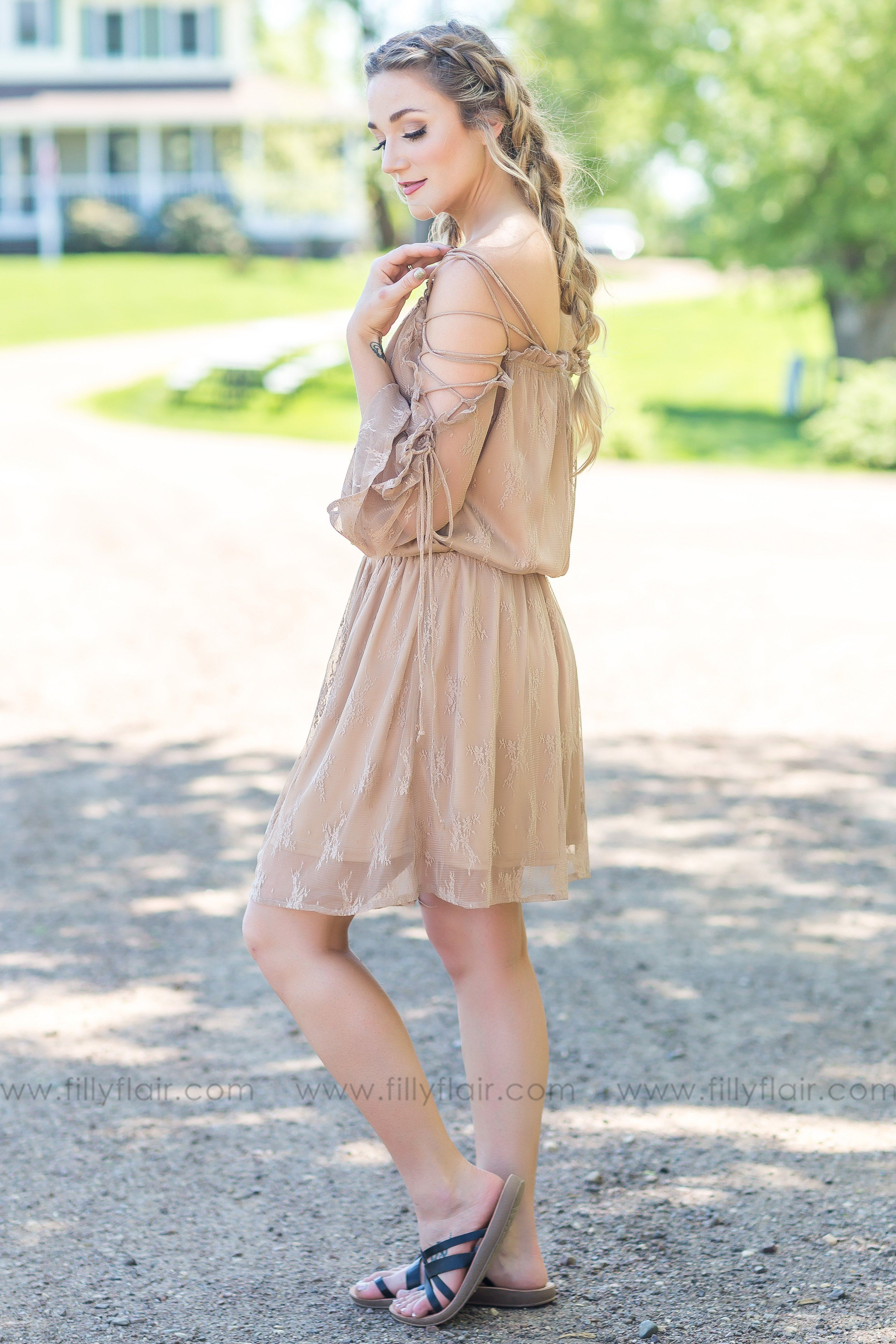 Hold It Together Lace Up Lace Mini Dress In Taupe - Filly Flair