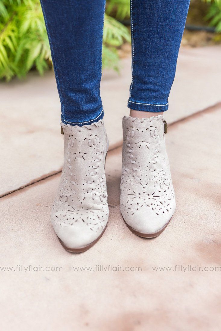 On My Way Distressed Perforated Booties in Taupe - Filly Flair