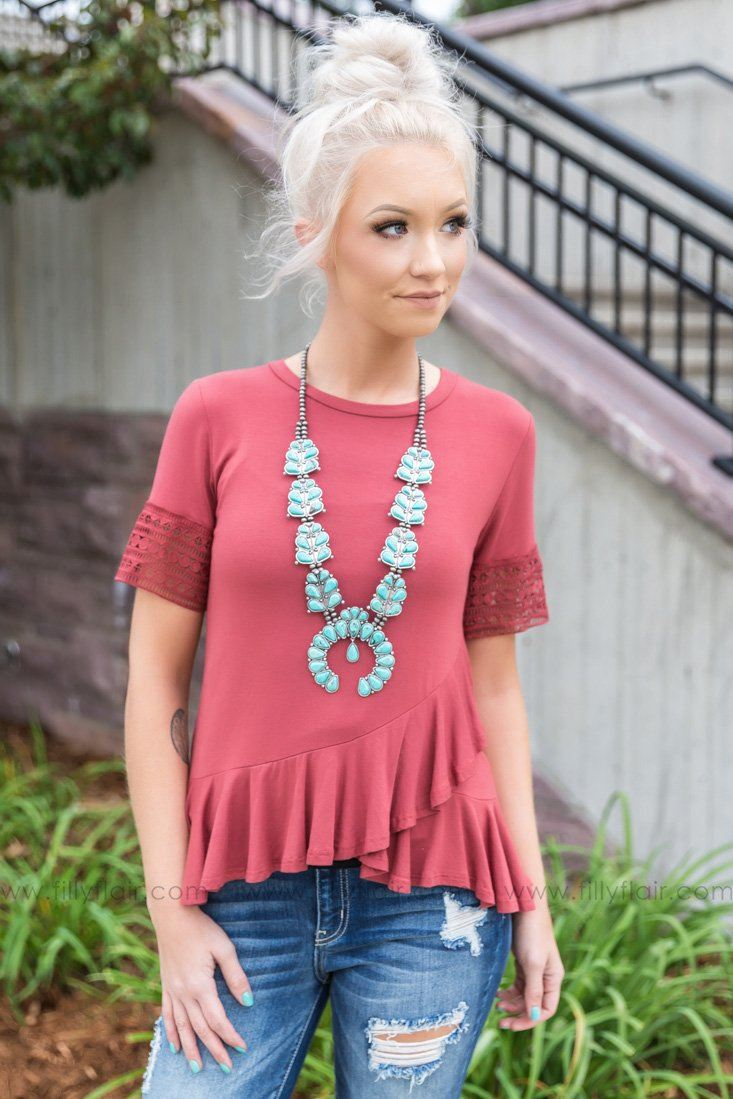 Filly Flair Exclusive: Laura's Favorite Short Sleeve Top in Marsala - Filly Flair