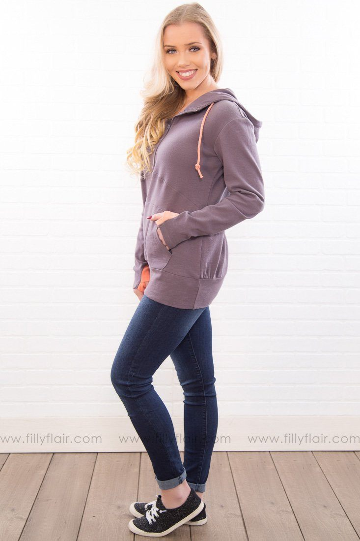 Save It For The Weekend Half Zip Hoodie In Charcoal