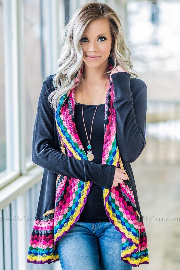 My Love Long Sleeve Multi Color Crochet Cardigan In Black - Filly Flair