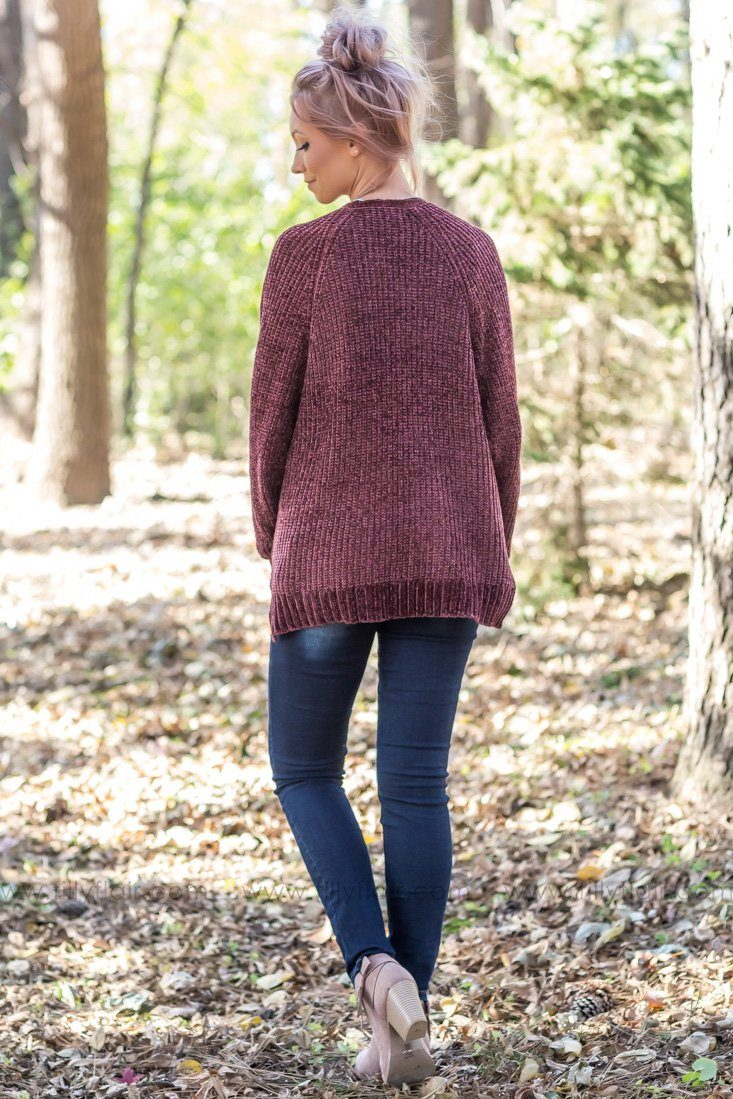 Where Us Begins Open Cardigan In Marsala - Filly Flair