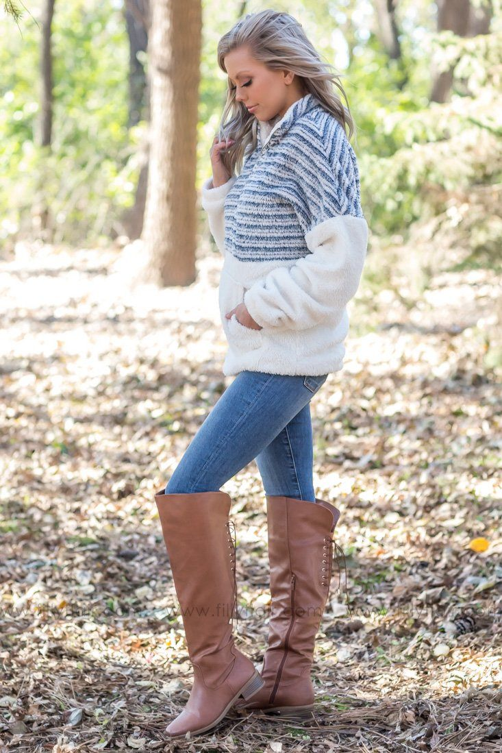 The Best Time Half Zip Faux Sherpa Sweatshirt in Navy Stripes - Filly Flair