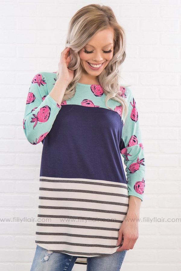 Something Sweet Pineapple Striped Top In Navy - Filly Flair