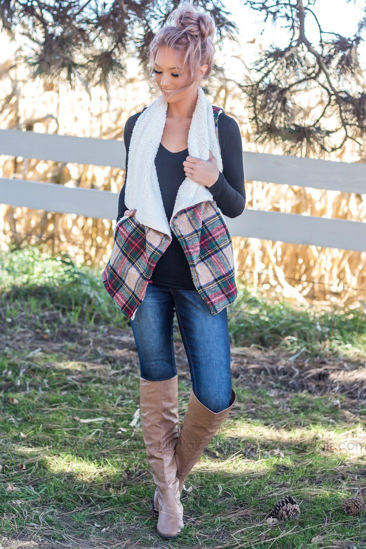 Cozy in Love Tartan Plaid Vest with Pockets - Filly Flair