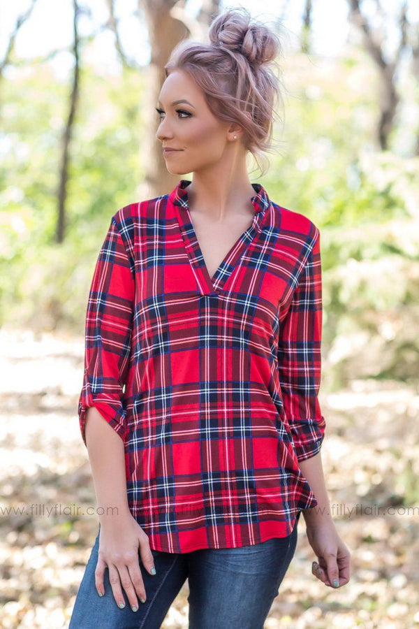 Already Home 3/4 Sleeve V-Neck Plaid Top In Red Navy - Filly Flair